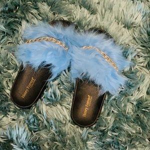 Shoes - Furry Blue Slides 👡